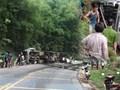 Sơn La: Xe container ôm cua vào vách núi, lái xe tử vong mắc kẹt trong cabin