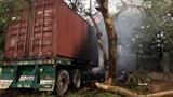 Xe đầu kéo gặp nạn bốc cháy dữ dội, lái xe chết cháy trong cabin