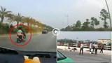 """Video: Phóng xe máy tốc độ """"bàn thờ"""" trên cao tốc, 2 người phụ nữ ngã nguy kịch"""