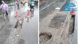 Mặt đường nham nhở gây mất an toàn giao thông trên phố Trần Khánh Dư