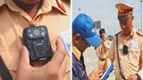 Camera gắn áo ghi hình toàn bộ công tác xử lý vi phạm của cảnh sát giao thông