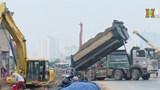 Dự án cầu cạn Mai Dịch - Nam Thăng Long đang gấp rút thi công