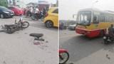 Xe buýt nghi lấn làn tông trực diện xe máy, 2 nam sinh nhập viện cấp cứu