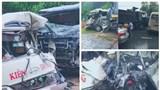 Xe khách bẹp nát sau va chạm với xe tải, 6 người bị thương