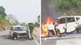 Ô tô bất ngờ phát nổ rồi bốc cháy trên đường, 2 người tử vong trong xe