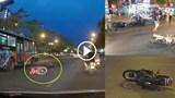 Truy tìm ô tô húc văng 7 xe máy dừng chờ đèn đỏ ở Long Biên