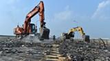 Toàn cảnh đại công trường sửa chữa mặt cầu Thăng Long