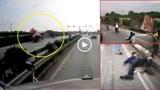 Tránh xe máy sang đường ẩu, xe container lật trên Quốc lộ 5
