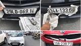 """Mải """"xem"""" tai nạn liên hoàn, ô tô tông nhau trên cầu Nhật Tân"""
