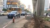 Tập kết vật tư trên đường Trần Phú gây cản trở giao thông