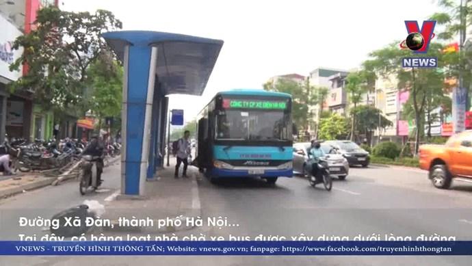 Hà Nội: Nhà chờ xe buýt bỗng nhiên 'mọc' giữa đường