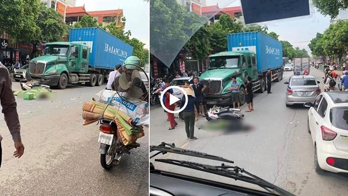 Chiến sĩ công an tử vong sau tai nạn với xe container