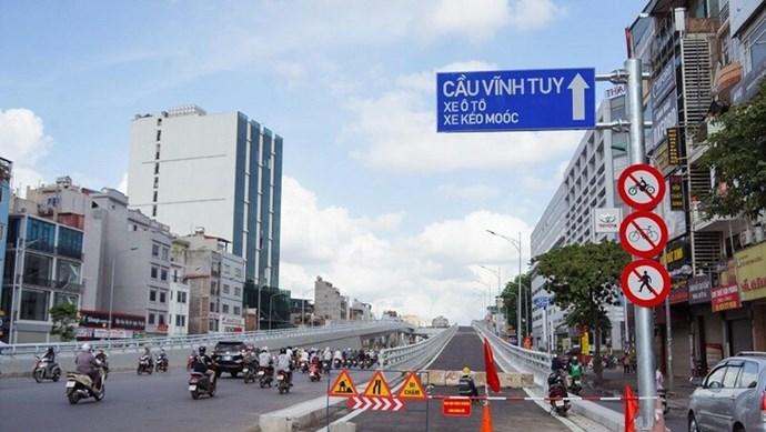 Đường Vành đai 2, đoạn từ cầu Vĩnh Tuy đến Ngã Tư Sở sẵn sàng thông xe