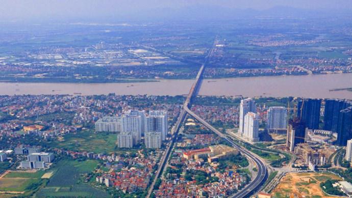 Cận cảnh đường Vành đai 3 trên cao nối cầu Thăng Long - Mai Dịch đã hoàn thành 90%