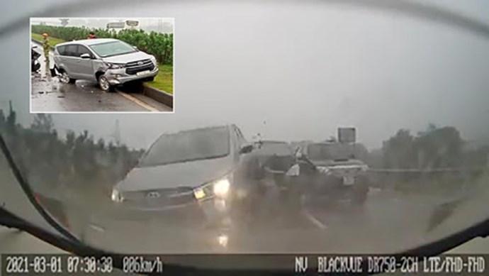 [Clip] Xe Innova gây tai nạn liên hoàn trên cao tốc Hà Nội - Thái Nguyên