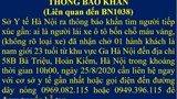 Hà Nội: Thông báo khẩn tìm người lái ô tô chở bệnh nhân Covid-19 về quận Hoàn Kiếm