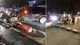 """Hà Nội: """"Hạ gục"""" biển báo cầu vượt Trần Khát Chân, ô tô 7 chỗ gãy rời bánh sau"""