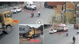 [Clip] Khoảnh khắc xe ben tông xe container đang sang đường